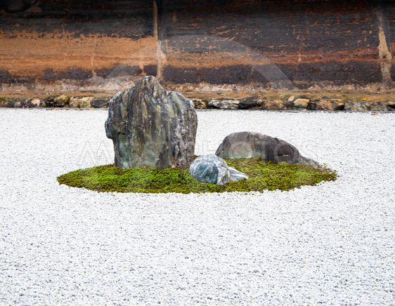 Detalj från en rock garden i Ryoan-ji templet, Kyoto, Japan.