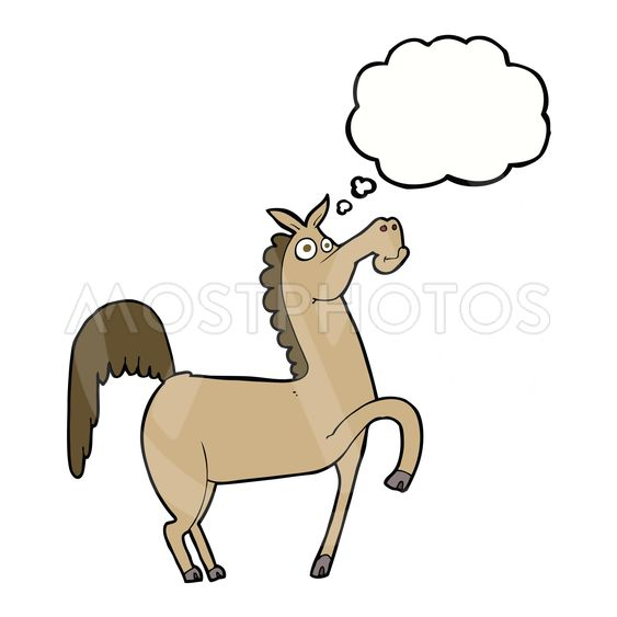 funny cartoon horse with thought bubble