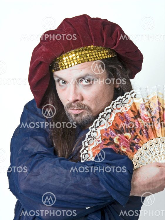 man with color fan