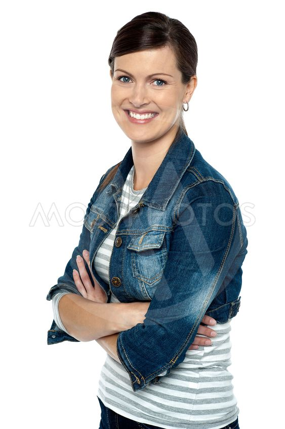 Cheerful middle aged woman in trendy clothing