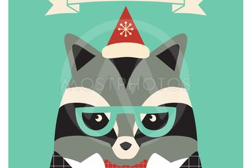 Christmas card with cute hipster raccoon.