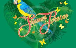 Seasonal card with Heart shape, palm trees leaves and...