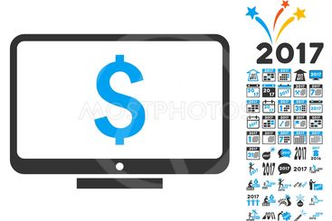Financial Monitoring Icon With 2017 Year Bonus Pictograms