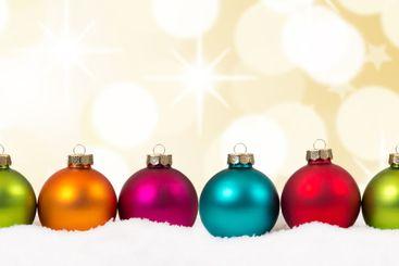Christmas golden gold stars colorful balls banner...
