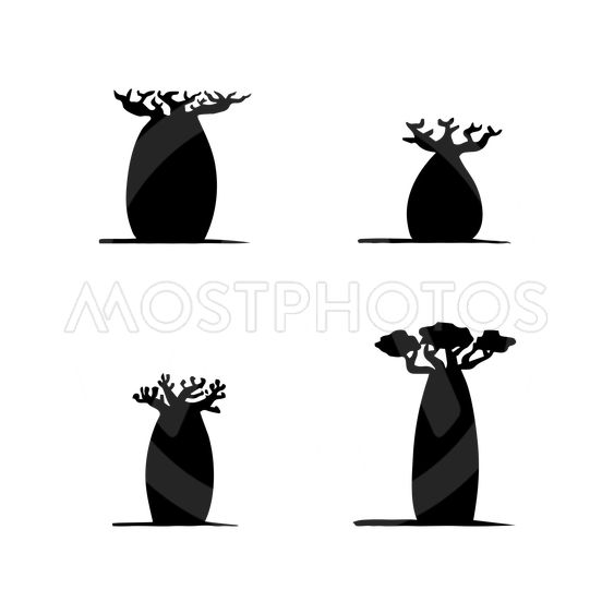 vector set of four hand drawing black baobabs on white...