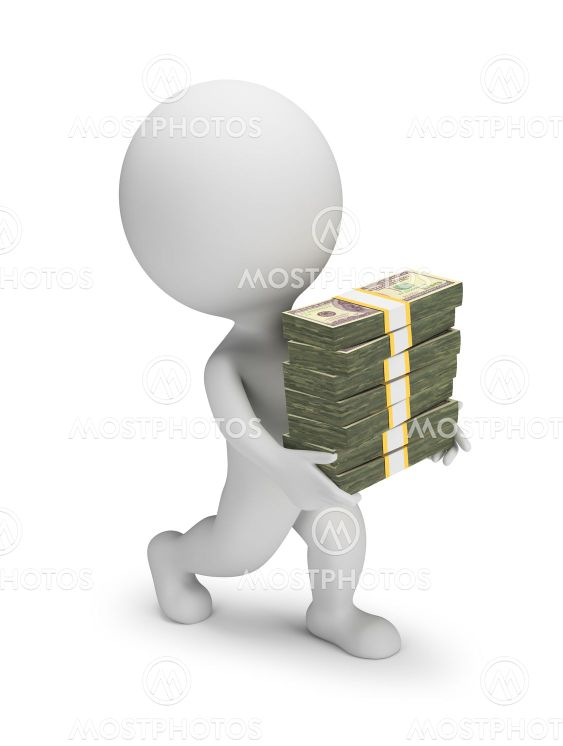 3d small people - carries a stacks of dollars