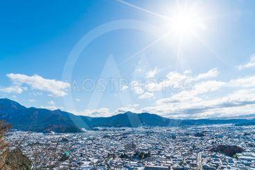 kawaguchiko city skyline with snow