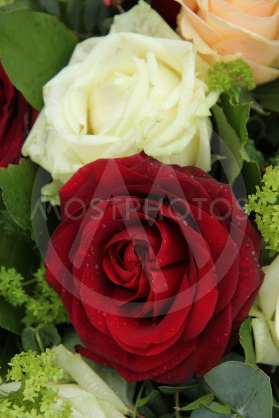 Bridal arrangement in pink, red and white