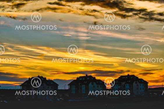 sunset, summer, colorful sky, clouds lit by the setting sun