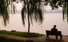 solitary man sitting by the lake