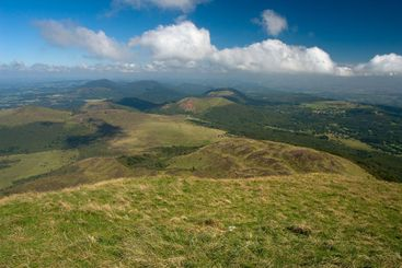 View from the volcano Puy de Dome of the surrounding...