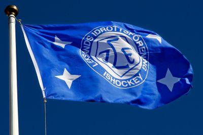 Leksands IF flagga med klubbmärket