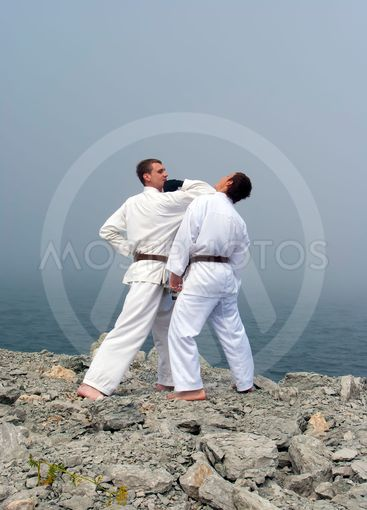 two karateka fight on the banks of the misty sea