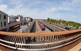 Walkway over the train station denmark in the city of...