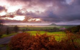 Misty North York Moors at sunset
