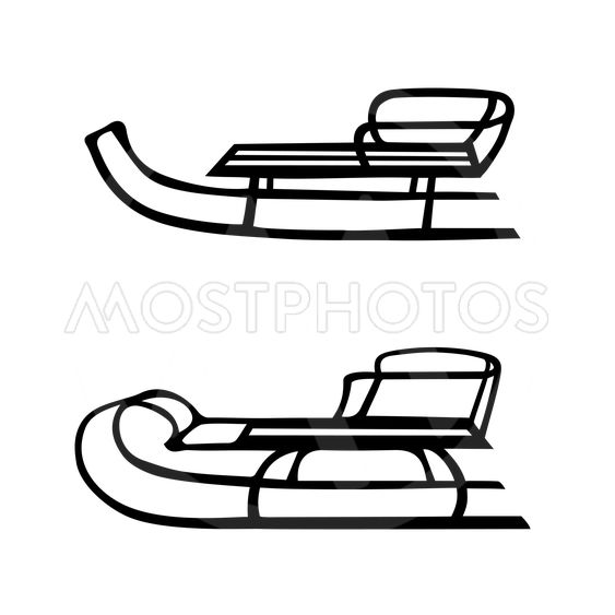 Winter. Sled. Hand drawn vector set of two sleds