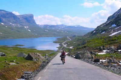 Mountain bike cyclist riding uphill