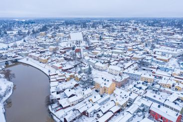 Aerial view of the old town of Porvoo, Finland in Winter