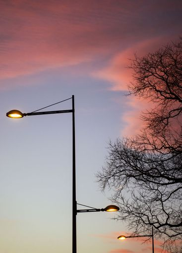 street light silhouette ad trees on beautiful sky by...