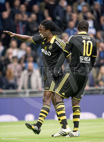 AIK players Henok Goitom celebrating with Ofori after the...