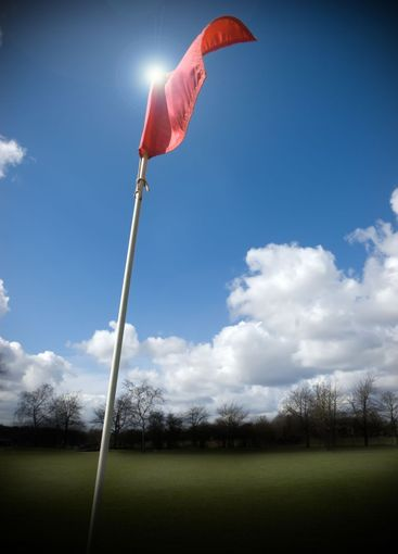 Golf Flag fluttering in the wind