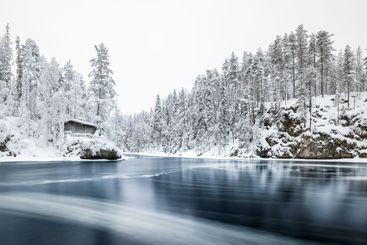 Myllykoski at winter in Oulanka National Park, Finland