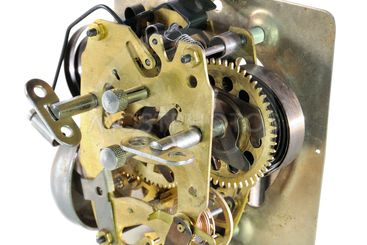 The mechanism of an old alarm clock
