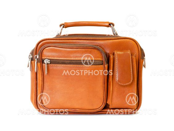 Men's vintage bag in brown color in retro style isolated...