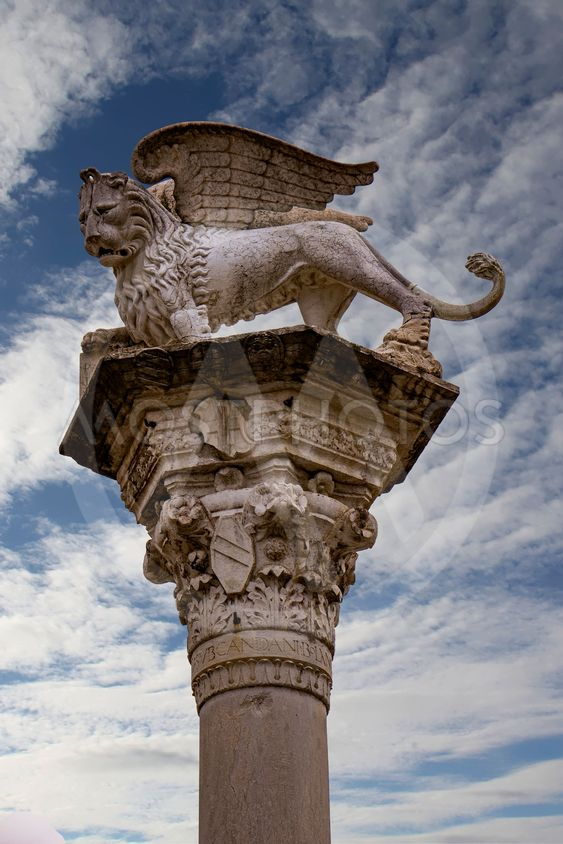 Column with the Venetian winged lion in Piazza dei...