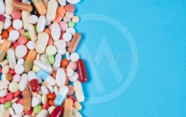 Colorful medicine drugs as a border
