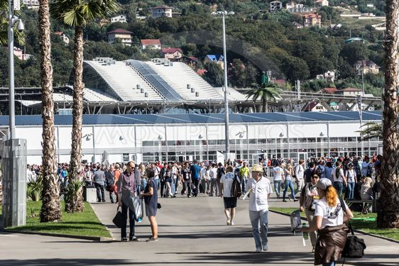 The main entrance at the Sochi autodrom from the train...