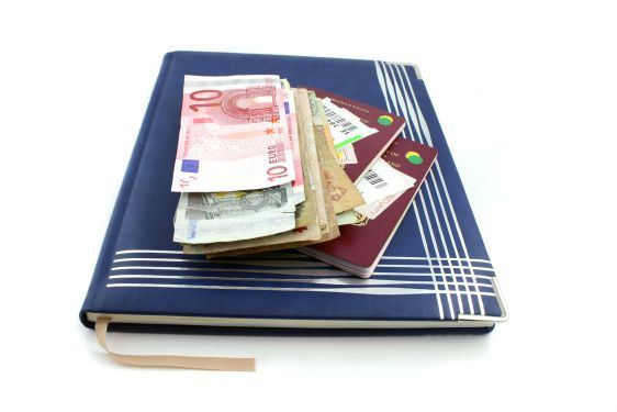 Diary with passport and Money