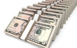 Stacks of money. Five dollars.