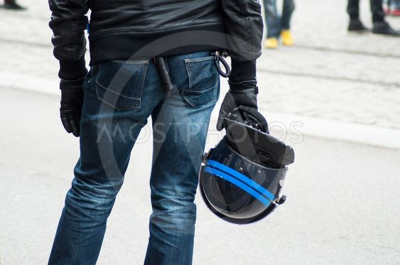 french civil policeman with helmet during the protesting...