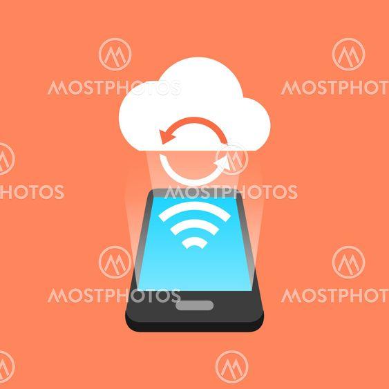 Smartphone synchronization concept. Isometric design.