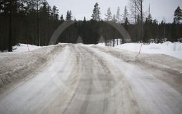 Icy road in northern Sweden during winter