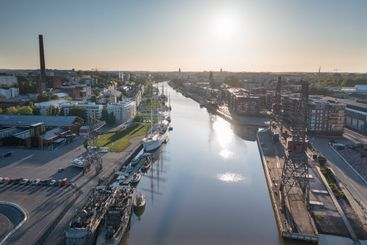 Aerial view of the city skyline in summer in Turku, Finland
