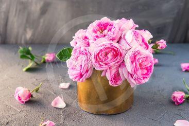 Close up tender pink tea roses bouquet in vintage golden...