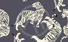 Hand drawn tiger seamless pattern, big cats in different...