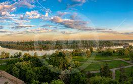 Panoramic view of the  rivers Sava and Danube in Belgrade.