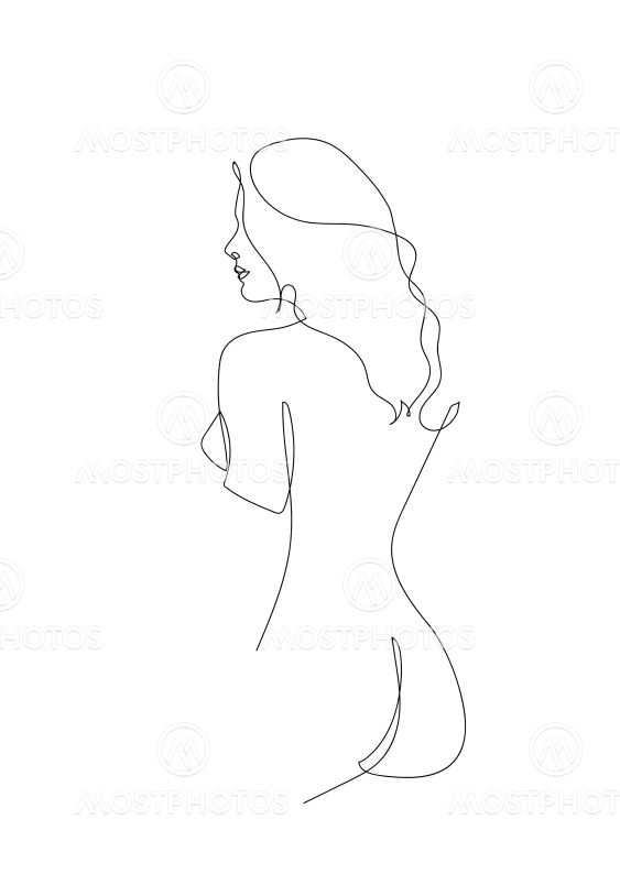 Continuous line Naked woman or one line drawing on white...