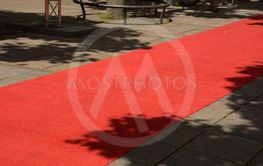 red carpet in the pedestrian zone for vip, rolled out...