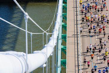 People running across a bridge in Sweden.