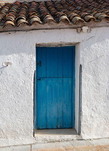 Door of a rustic house in a village