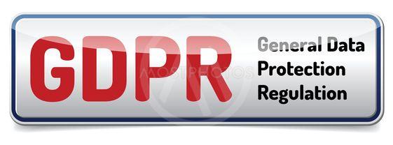 GDPR - General Data Protection Regulation. Glossy banner...