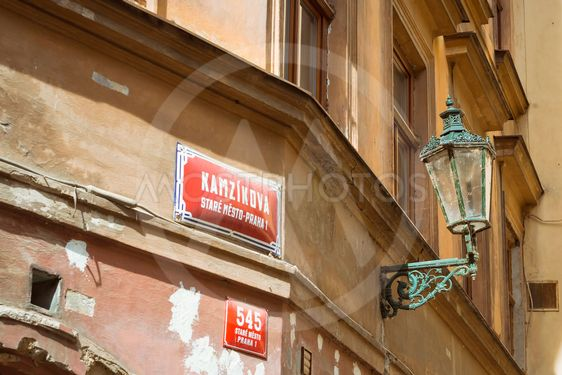 Decorative plate and street lamp on the walls