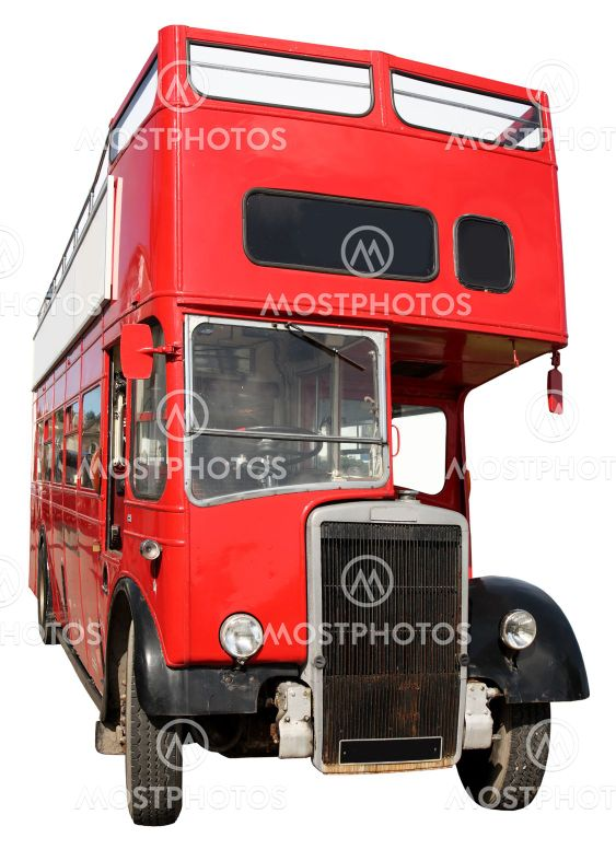 An old red London double-decker sightseeing open top bus.