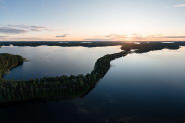 Punkaharju ridge road and Saimaa lake at dusk