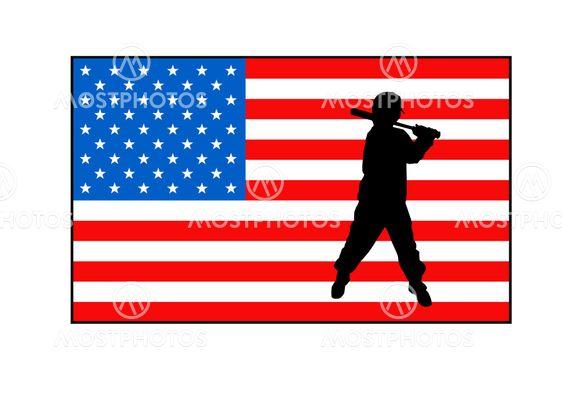 American flag and baseball player