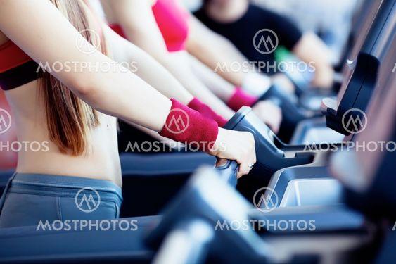Girls in fitness center